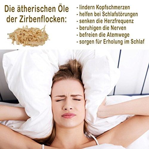 Hilfe bei Schlafstörungen, Wetterfühligkeit und Kopfschmerzen. Zirbenkissen 80 x 40 cm, deutsche Handarbeit, Kopfkissen + GRATIS Außenbezug - 2