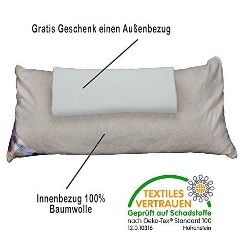 Hilfe bei Schlafstörungen, Wetterfühligkeit und Kopfschmerzen. Zirbenkissen 80 x 40 cm, deutsche Handarbeit, Kopfkissen + GRATIS Außenbezug - 3