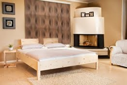 Zirbenbett 180x200 cm metallfrei, Zirbenholzbett mit Rückenlehne (180x200cm) -