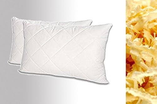 2 Stück (Doppelpack) Premium Zirbenkissen Nackenkissen Steppware weiß 100% Baumwolle 40 x 80 cm - 1