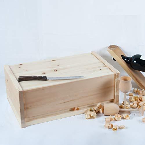 4betterdays.com NATURlich leben! Hochwertige Brotdose aus massivem Zirbenholz - Brotkasten mit aufklappbarem Deckel 42x26x16 cm (LxBxH) - plastikfrei & nachhaltig - Handarbeit aus - 2