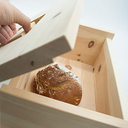 4betterdays.com NATURlich leben! Hochwertige Brotdose aus massivem Zirbenholz - Brotkasten mit abnehmbarem Deckel 30x23x14,5 cm (LxBxH) - Handgemacht in Österreich - 6