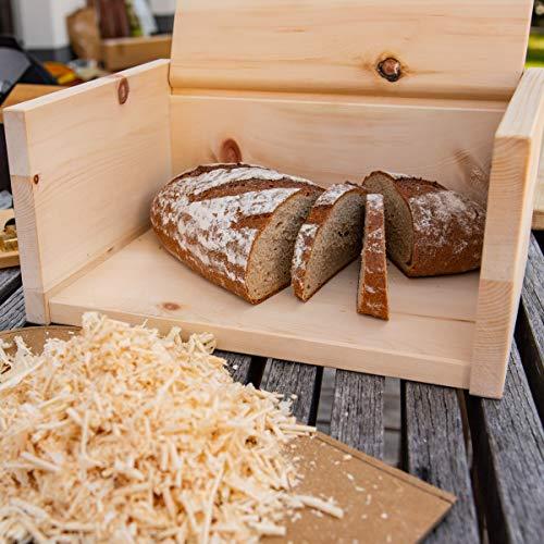 4betterdays.com NATURlich leben! Hochwertige Brotdose aus massivem Zirbenholz - Brotkasten mit aufklappbarem Deckel 42x26x16 cm (LxBxH) - plastikfrei & nachhaltig - Handarbeit aus - 3
