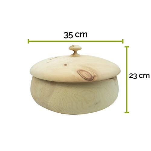 4betterdays.com NATURlich leben! Hochwertiger runder Brotkasten aus massivem Zirbenholz - Brotdose mit abnehmbarem Deckel - in verschiedenen Größen erhältlich 35x35x23 cm (LxBxH) - 2