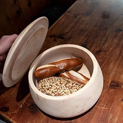 4betterdays.com NATURlich leben! Hochwertiger runder Brotkasten aus massivem Zirbenholz - Brotdose mit abnehmbarem Deckel - in verschiedenen Größen erhältlich 35x35x23 cm (LxBxH) - 5