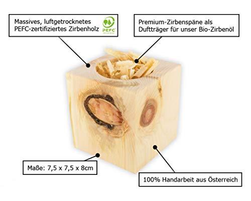 Gesundheitskissen.at Bio Zirbenkissen (22x34cm) + Bio Zirbenöl (10ml) + ZirbenWürfel inkl. 10g Zirbenspäne - 8