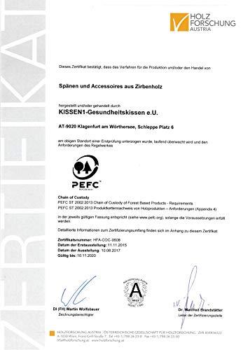 Gesundheitskissen.at Bio Zirbenkissen (22x34cm) + Bio Zirbenöl (10ml) + ZirbenWürfel inkl. 10g Zirbenspäne - 10
