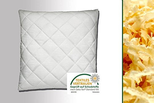 Premium Zirbenkissen Steppware weiß Bezug 100% Bio Baumwolle waschbar 80 x 80 cm - 1