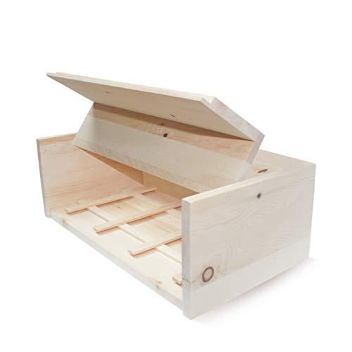 Zirben Brotkasten/Brotdose aus 100% Zirbenholz inkl. Bienenwachstuch - mit herausnehmbarem Zirbenholz-Gitter - Maße: 45 x 16 x 25 cm - Handgemacht in Österreich - 2