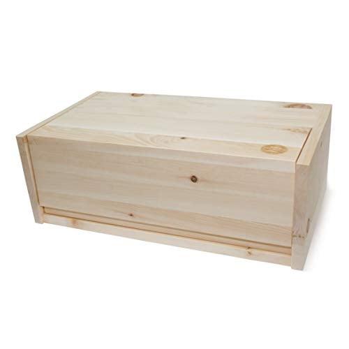 Zirben Brotkasten/Brotdose aus 100% Zirbenholz inkl. Bienenwachstuch - mit herausnehmbarem Zirbenholz-Gitter - Maße: 45 x 16 x 25 cm - Handgemacht in Österreich - 3