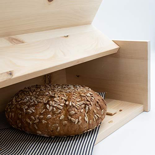 Zirben Brotkasten/Brotdose aus 100% Zirbenholz inkl. Bienenwachstuch - mit herausnehmbarem Zirbenholz-Gitter - Maße: 45 x 16 x 25 cm - Handgemacht in Österreich - 4
