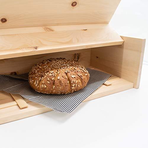Zirben Brotkasten/Brotdose aus 100% Zirbenholz inkl. Bienenwachstuch - mit herausnehmbarem Zirbenholz-Gitter - Maße: 45 x 16 x 25 cm - Handgemacht in Österreich - 5