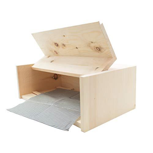 Zirben Brotkasten/Brotdose aus 100% Zirbenholz inkl. Bienenwachstuch - mit herausnehmbarem Zirbenholz-Gitter - Maße: 45 x 16 x 25 cm - Handgemacht in Österreich - 1
