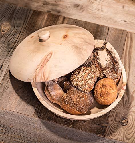Barefoot Living Brotkorb aus Zirbenholz mit Deckel und 34 cm Durchmesser – Brotkasten zum Aufbewahren von Brot und Brötchen ohne Schimmel - 2