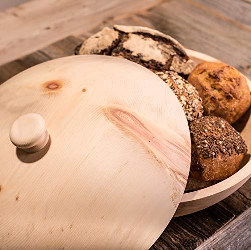 Barefoot Living Brotkorb aus Zirbenholz mit Deckel und 34 cm Durchmesser – Brotkasten zum Aufbewahren von Brot und Brötchen ohne Schimmel - 5