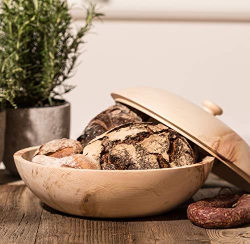 Barefoot Living Brotkorb aus Zirbenholz mit Deckel und 34 cm Durchmesser – Brotkasten zum Aufbewahren von Brot und Brötchen ohne Schimmel - 6