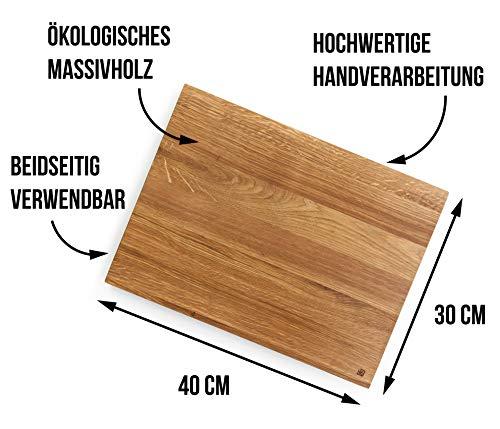 Edeldings XXL Massivholz Schneidebrett aus Eiche   Groß 40 х 30   Küchenbrett Holz aus Europa   Antibakterielles Holzschneidebrett, Servierbrett, Holzbrett, Eichenholz massiv für Küche - 7