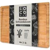 Loco Bird massives Bambus Schneidebrett mit Saftrille - 44,8x30x2 cm großes Holz-Brett für die Küche - XXL Tranchierbrett - Antibakterielles Holzbrett - 1