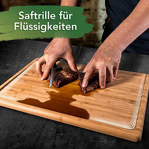 Loco Bird massives Bambus Schneidebrett mit Saftrille - 44,8x30x2 cm großes Holz-Brett für die Küche - XXL Tranchierbrett - Antibakterielles Holzbrett - 7