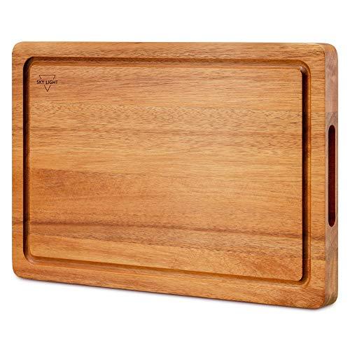 SKY LIGHT Schneidebrett Holz Premium Dickes Hackbrett aus Akazienholz antiseptisches Holz-Brett Mit Saftrille 38x25x2.5cm Langlebig Brotbrett, Küchen-bretter, Frühstücksbrettchen und Servierbretter - 1